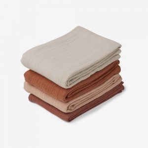 Liewood, Leon Muslin Cloth Pack 4 - Rose Mix