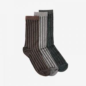 Danish Glitter Ankle Sock Stripe, Set of 3