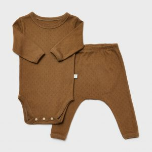 Cotton pointelle bodysuit with leggings, soft brown