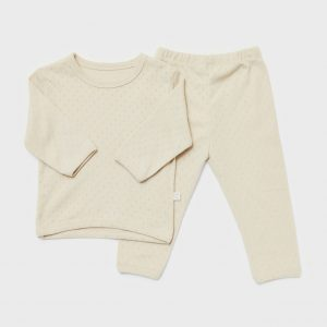 Cotton pointelle suit, beige