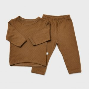 Cotton pointelle suit, soft brown