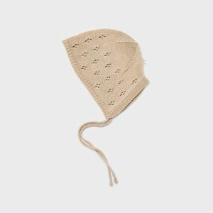 Ango Knitted pointelle bonnet, light beige