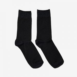 Danish Glitter Ankle Sock, Black