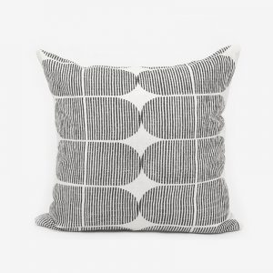 Block Print Quilted Cushion, Black Tile