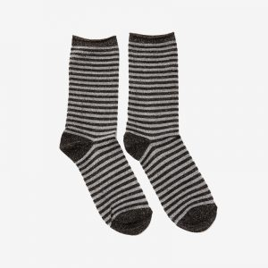 Danish Glitter Ankle Sock, Stripe Chocolate