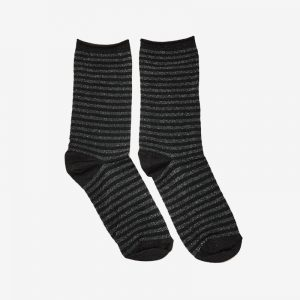 Danish Glitter Ankle Sock, Mini stripe Charcoal