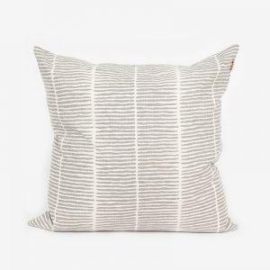 Block Print Quilted Cushion, Grey Lines