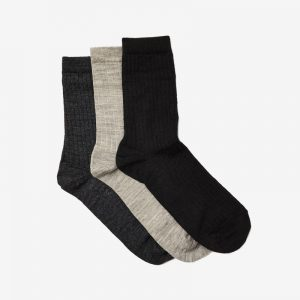 Danish Ankle Sock, Wool Rib, Taupe, Charcoal & Black