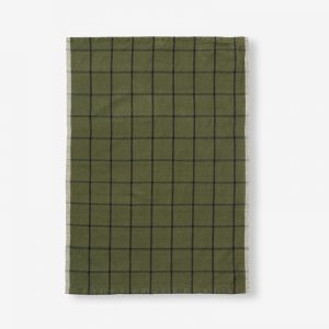 Hale Yarn Dyed Linen Tea Towel Olive & Black