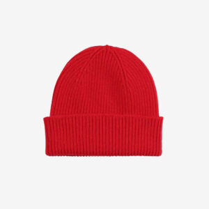 Merino Wool Beanie Emerald Scarlet Red