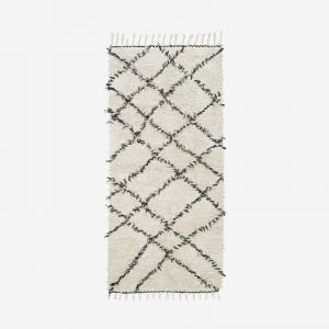 White and black Berber pattern Rug