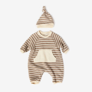 striped raglan cosy suit with hat, camel