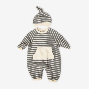 striped raglan cosy suit with hat, Grey