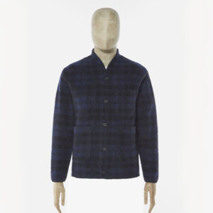 Universal Works Navy Sherpa Wool Fleece Cardigan